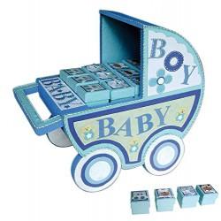 EXPOSITOR CARRO BABY AZUL + 24 CAJITAS BABY